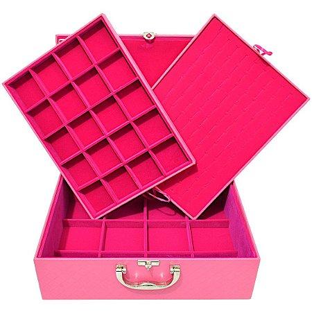 Maleta Porta Joias Extra Grande Tripla Com Tampa Magnética - Rosa com Pink