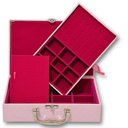 Maleta de Joias Dupla Media Com Dobradiça Dijon Rosa com Pink