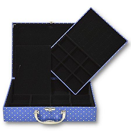 Maleta de Joias Dupla Grande Com Dobradiça Poá Azul com Preto