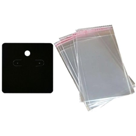 100 Cartelas Para Brincos 6 x 6 cm C44 + 100 Saquinhos Adesivos 7 x 7 cm