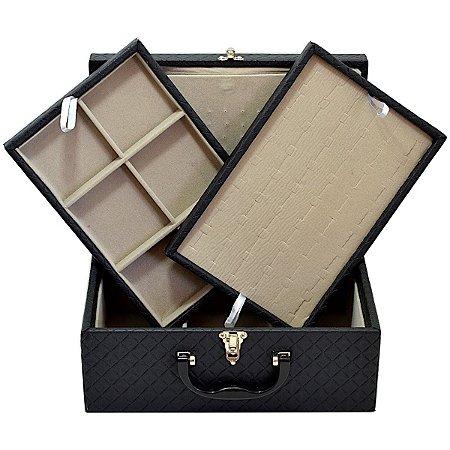 Maleta de joias Tripla Media em Corino Dijon Preto com protetor de correntes em veludo Cinza