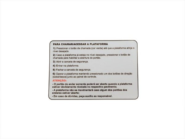 58265 - ADESIVO CHAMADA/ACESSO PLATAFORMA