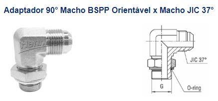 """ADAPAPTADOR 90º ORIENTÁVEL Macho BSP x Macho JIC37º 1""""-11x1.5/16""""-12-LMBOMJ1616"""