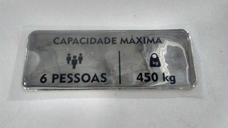 54117 - ADESIVO CAPACIDADE MÁXIMA CABINA HL03 (6 PESSOAS-450 kg)