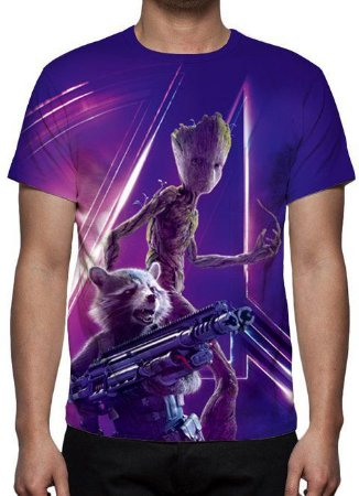 MARVEL - Vingadores - Rocket & Teen Groot - Camiseta de Cinema