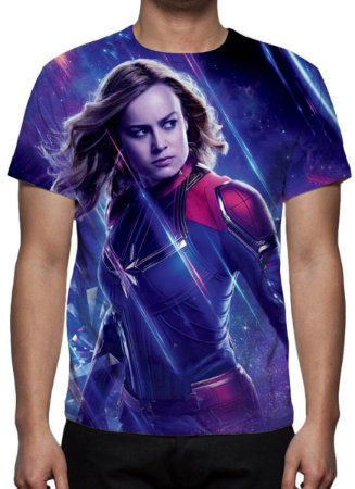 MARVEL - Vingadores Ultimato - Roxa Capitã Marvel - Camiseta de Cinema