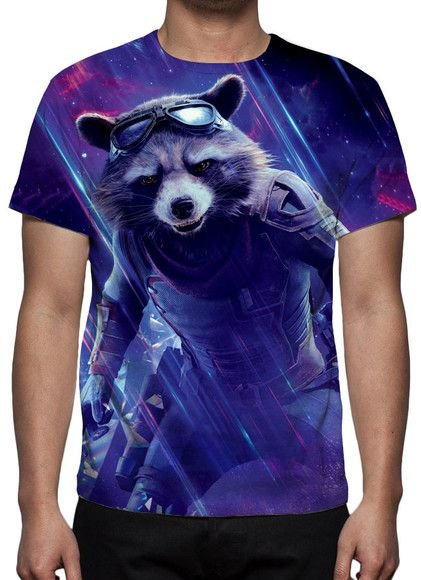 MARVEL - Vingadores Ultimato - Roxa Rocket Racoon - Camiseta de Cinema
