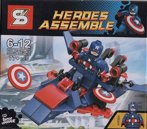 LEGO COMPATÍVEIS - Heroes Assemble Capitão América Nave - Brinquedos