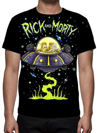 RICK AND MORTY - Preta -  Camiseta de Desenhos