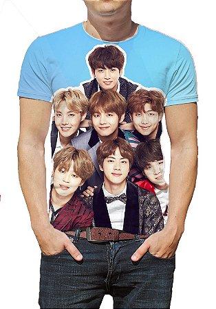 BTS Bantang Boys - Azul autografada - Camiseta de KPOP