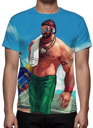 LEAGUE OF LEGENDS - Graves Curtindo o Verão - Camiseta de Games