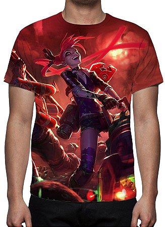 LEAGUE OF LEGENDS - Jinx Caça Zumbis - Camiseta de Games