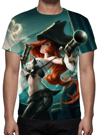 LEAGUE OF LEGENDS - Miss Fortune Caçadora de Recompensas - Camiseta de Games