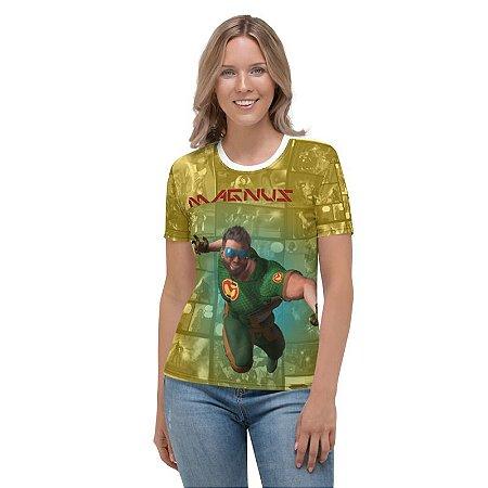CADU ARTES - Fundação Amálgama Magnus Amarela - Camiseta de Heróis Brasileiros