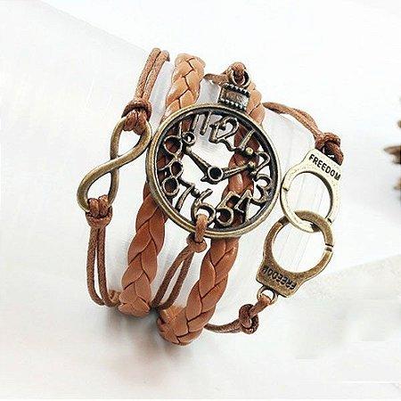 Bracelete Em Couro Marrom, Algemas e Relógio falso - Vintage