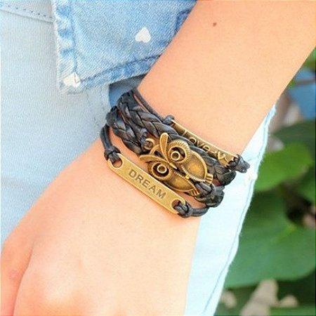 Bracelete Corujinha Vintage em Couro e Liga Metálica