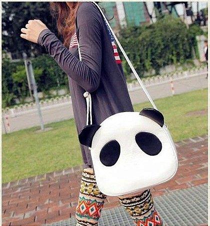 Linda Bolsa Panda, Tipo Mensageiro, Branco e Preto