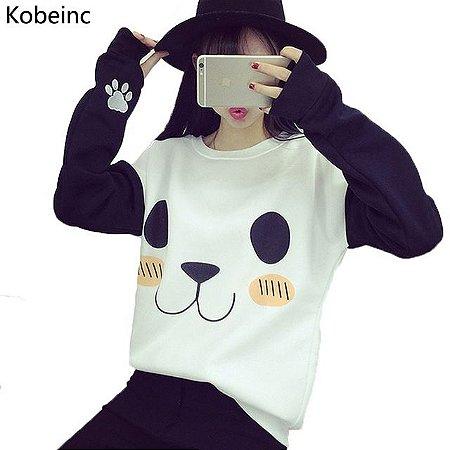 Moletom Feminino Panda Em Poliéster Tamanho único