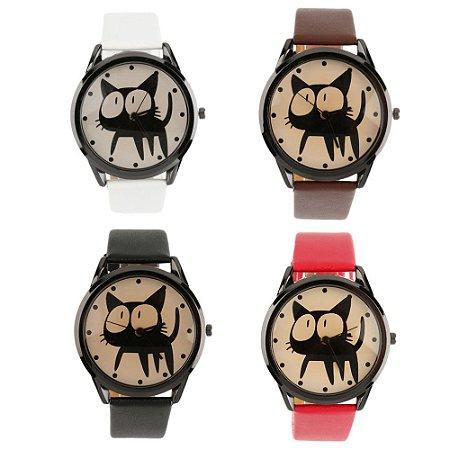 Relógio com Rosto de Gatinho - 4 cores