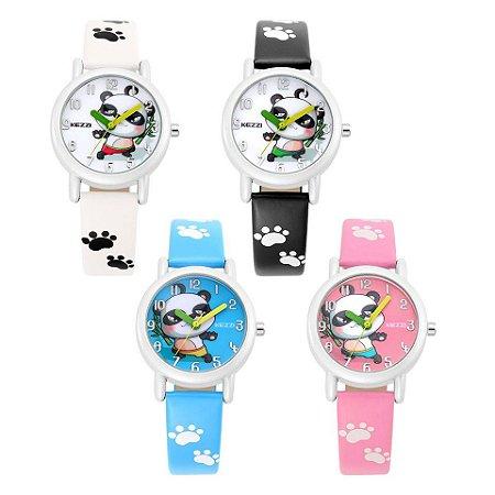 Relógio de Panda com pulseira estampada - 4 cores - à prova d'água