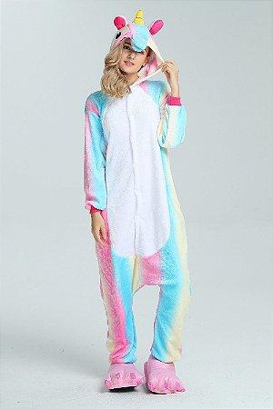 Exclusivo e Super Fofo Pijama Unicórnio Estrelado e Arco-íris