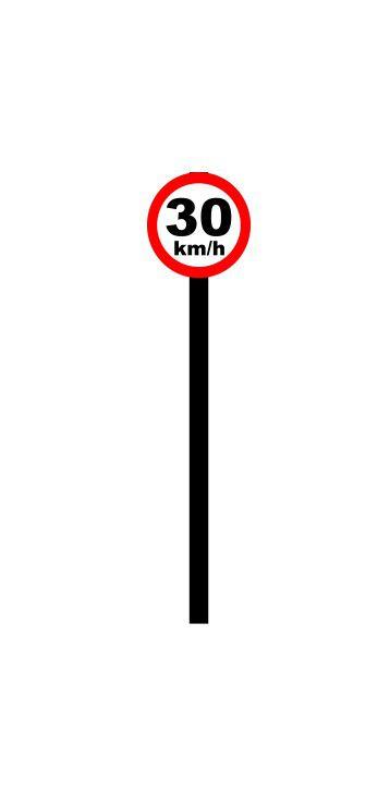 Placa de sinalização HO Vel. permitida (30km/h)