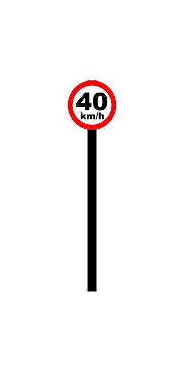 Placa de sinalização HO Vel. permitida (40km/h)