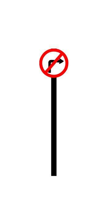 Placa de sinalização HO Proibido virar à direita