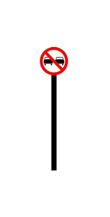 Placa de sinalização HO Proibida a ultrapassagem de veículos