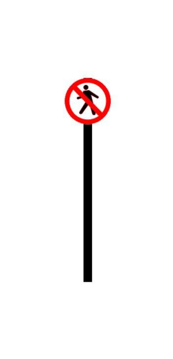 Placa de sinalização HO Proibido o trânsito de pedestres