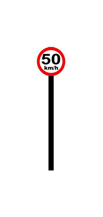 Placa de sinalização HO Vel. permitida (50km/h)