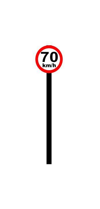 Placa de sinalização HO Vel. permitida (70km/h)