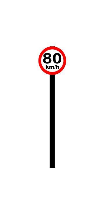 Placa de sinalização HO Vel. permitida (80km/h)