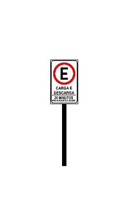 Placa de sinalização HO Carga e descarga - 30 minutos