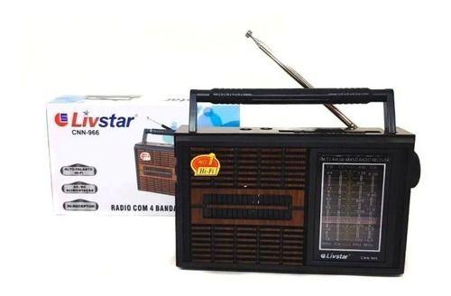 Radio Portátil Com 4 Bandas AM FM SW E TV Livstar CNN-966