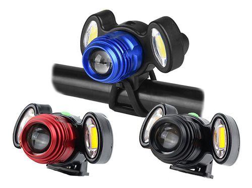 Farol Lanterna Bike 3 Focos Led Com Zoom Recarregável