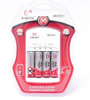 Carregador De pilhas Mox C/4 Pilhas AA 2600mah Mo-CP51