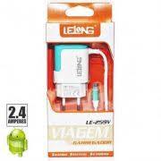 Carregador V8 Para Celular 2.4A  2 Usb LE-259V