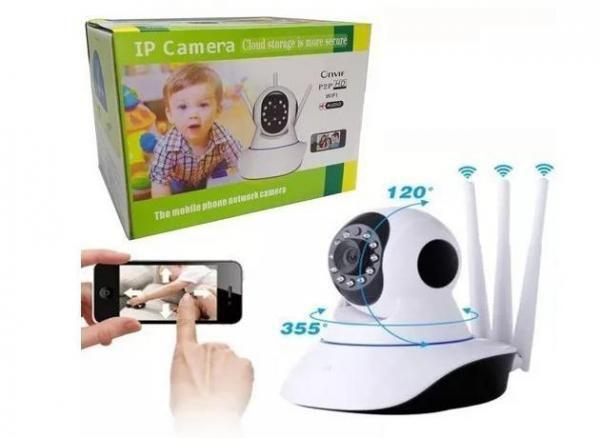 Câmera Ip Sem Fio 360 3 Antenas Hd Wifi