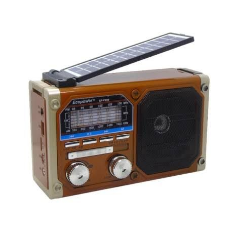 Rádio Retrô Solar Recarregável AM/FM/SW/Bluet. F97 Bivolt