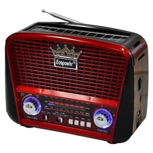 Rádio Retrô Solar Recarregavel AM/FM/SW/Bluet. F108B