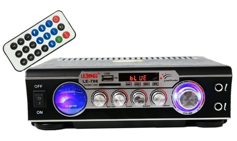 Mini Amplificador Mp3, Fm, Usb, Sd Bluetooth Karaoke LE-706