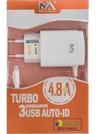 Carregador de Parede Turbo 4.8A C/3 USB V8 MAX-CAR74