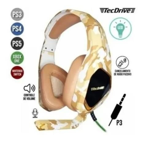 Fone Headset Tecdrive Gamer LED Camuflado P/CEL/PS3/PS4/XBOX ONE NSWITCH PX-9
