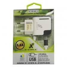 Carregador De Celular XC-V8-UR11 3.1A X-Cell + 2 Saidas USB - Anatel