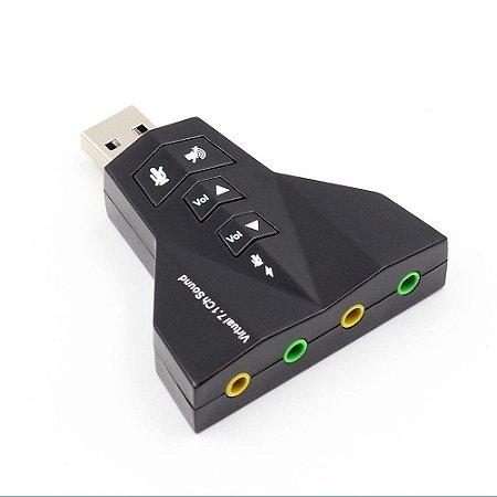 Placa De Som Usb 7.1 Canais Adaptador Audio