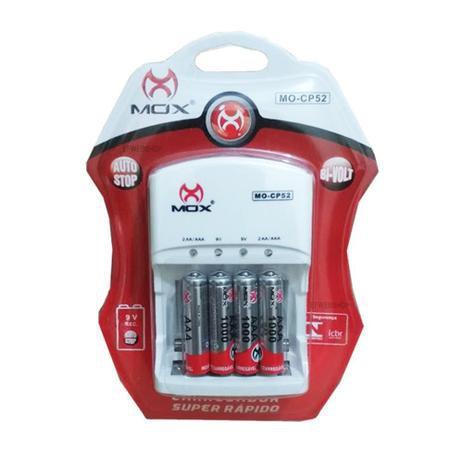 Carregador de Pilha Mox C/4 Pilhas AAA 1000 Mah MO-CP52