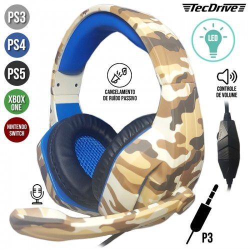 Fone Headset Tecdrive Gamer LED Camuflado P/CEL/PS3-PS4/XBOX ONE NSWITCH PX-5