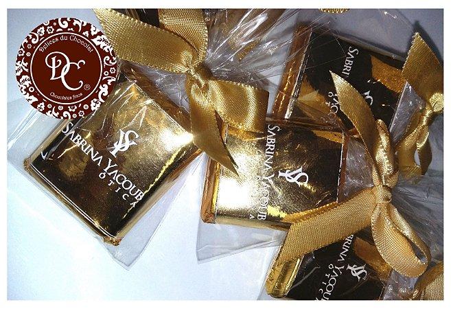 Tablete de Chocolate maciço com personalização em dourado