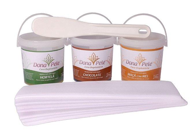 Kit Homecare Dona Pele (3 potes de cera de 270g cada, 1 Espatula, 1 Papel)